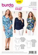 6785 Burda Pattern: Misses' and Plus Size Knit Dress and Top with Waterfall Neckline